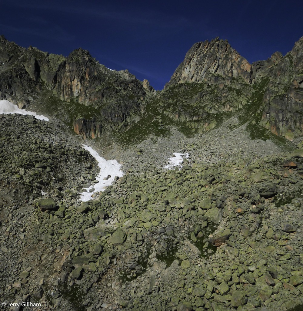 That's the Fenetre, that little dip in the ridge. Just all these rocks and that near vertical slope to get past first.