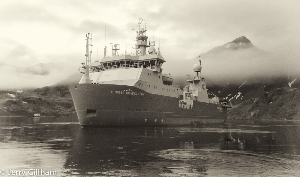 RRS Ernest Shackleton in Cumberland Bay, South Georgia.