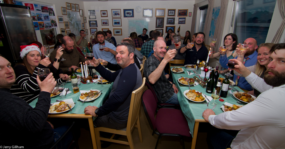 40 people crammed in the dining room, cheers!