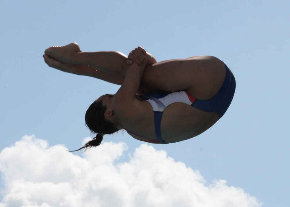 Loukas competes in a women's 3-meter event (Jen Lowery/USA Diving)
