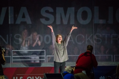Smoliga celebrating her victory at the Olympic Trials (photo courtsey of USA Swimming)