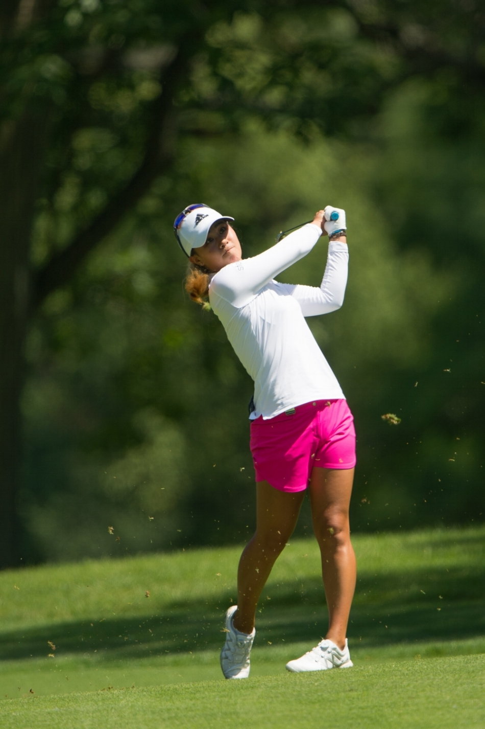 Kildeer, IL - June 28: Danielle Kang of the U.S. hits her second shot on the 12th hole during the first round of the 2018 KPMG Women's PGA Championship at Kemper Lakes Golf Club on June 28, 2018 in Kildeer, Illinois. (Photo by Montana Pritchard/Courtesy of The PGA of America).