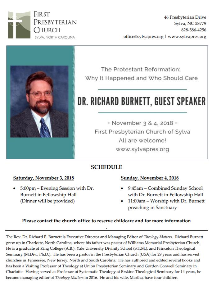 First Presbyterian Church - Dr. Richard Burnett Guest Speaker.png