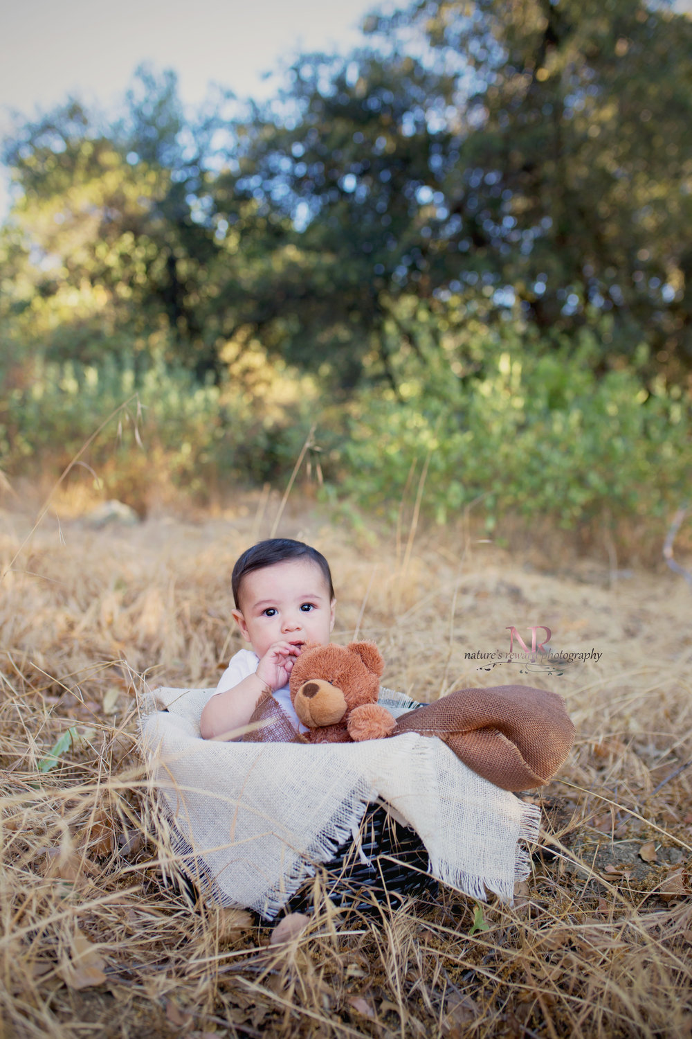 He is so darling- this 6 month baby in a basket