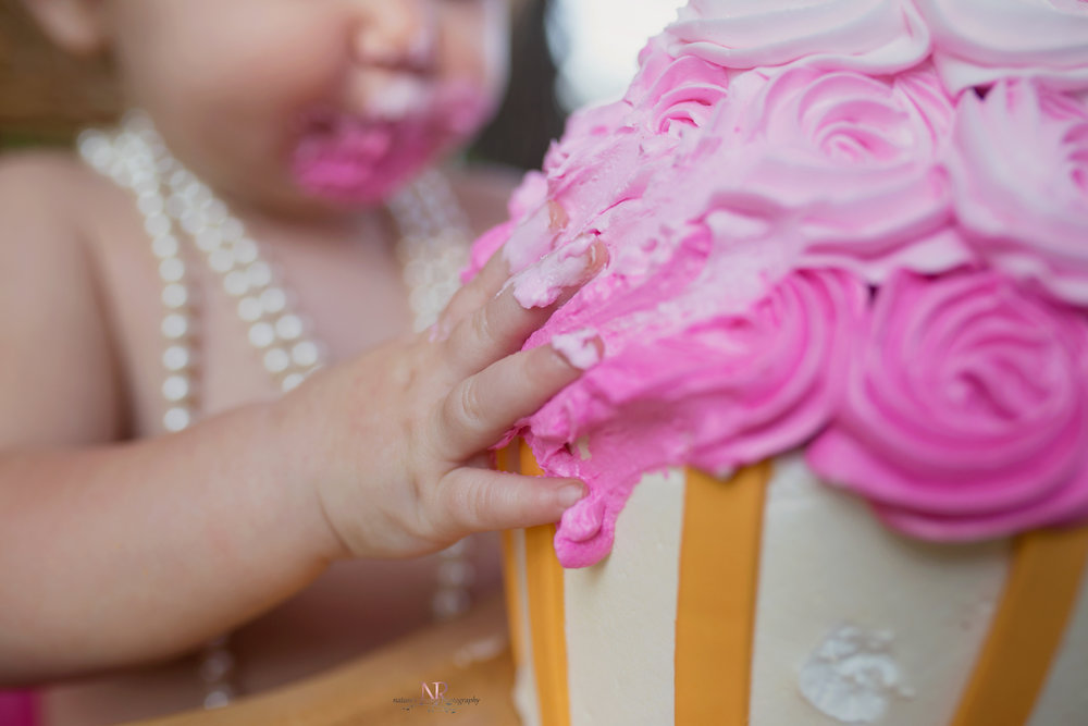 Love this so much!  Shows the gorgeous cake and the that she was totally into it!