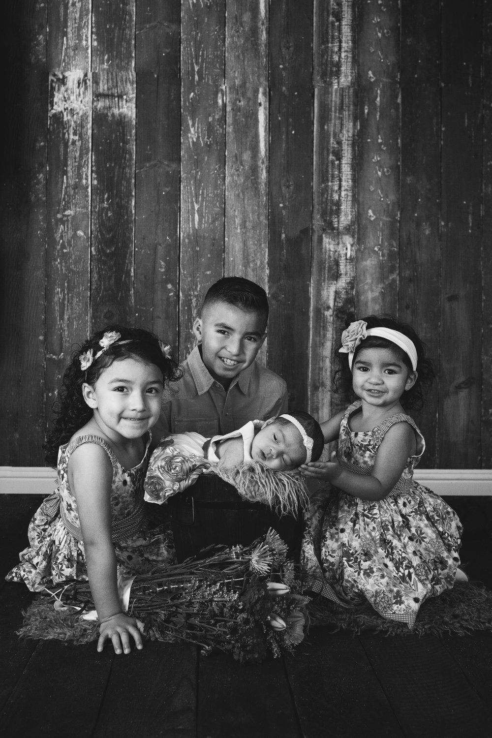 Black and white portrait of the the children together.