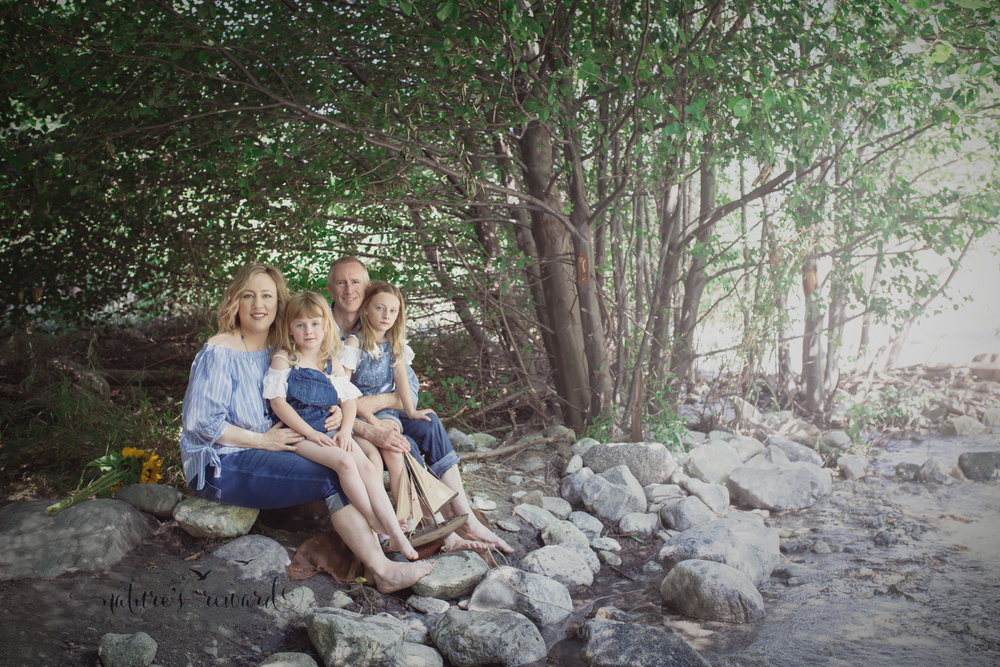 Family portrait by the creek.  Loving their corresponding outfits! Portrait by Nature's Reward Photography- a southern California photographer
