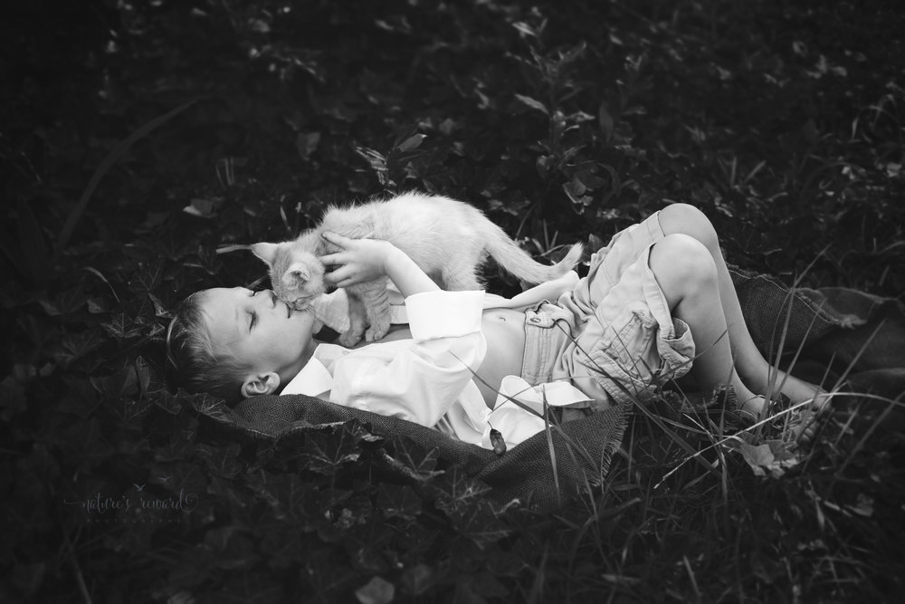 And then a magical kiss.  This makes my mom heart flutter and my photographer heart soar. This is my boy and a kitten he saw birthed, and the sweetness of a father shines through.  A young boy full of hope and kindness beams in this single kiss with a kitten.