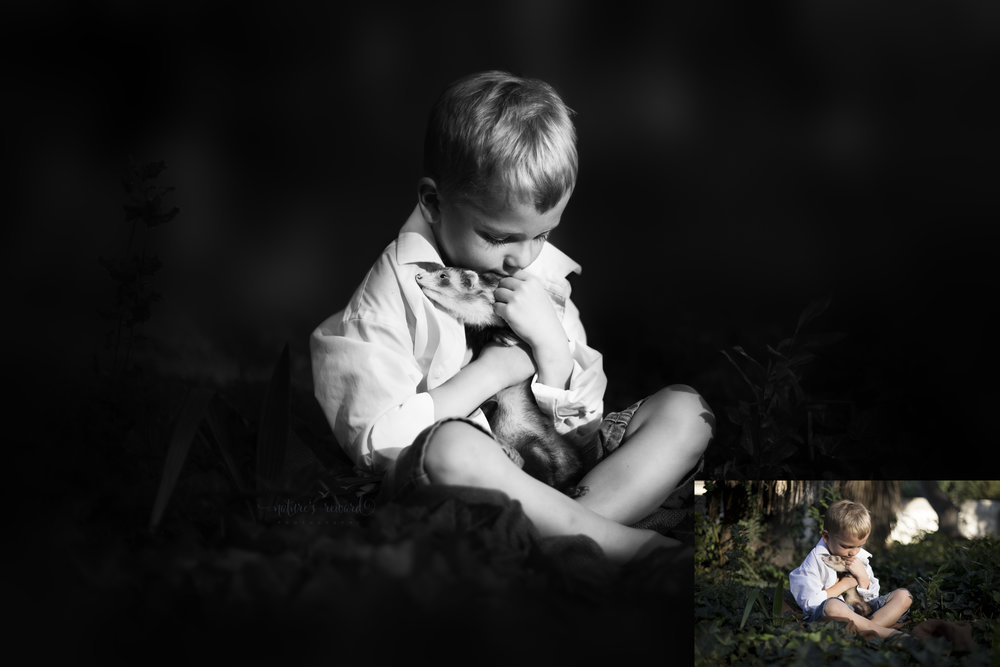 Before and after Color to the black and white award wining retouched image