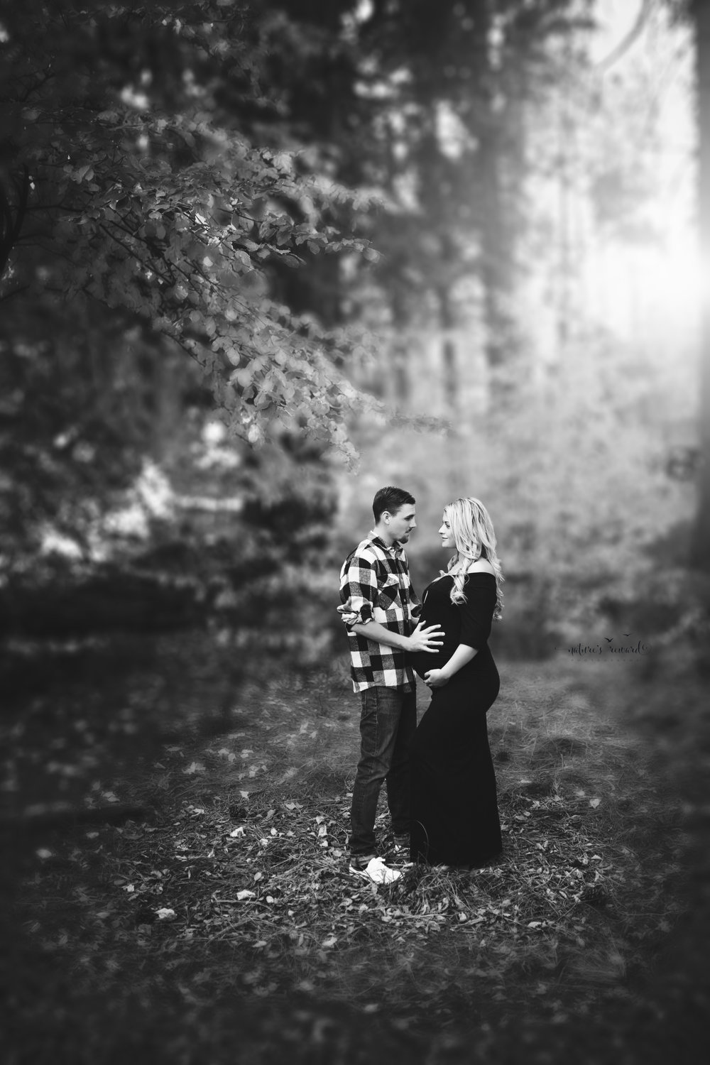 Black and White Woods Maternity