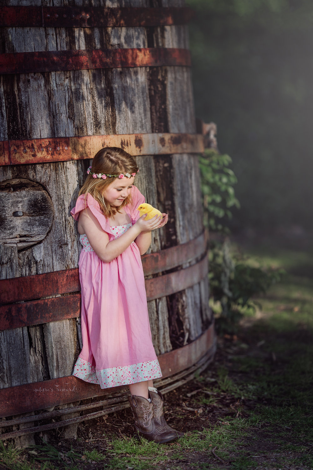 This Cute Chick gets all the love in this darling composite piece showcasing this lovely pink dress and cowgirl boots  by Nature's Reward Photography, a Southern California Photographer