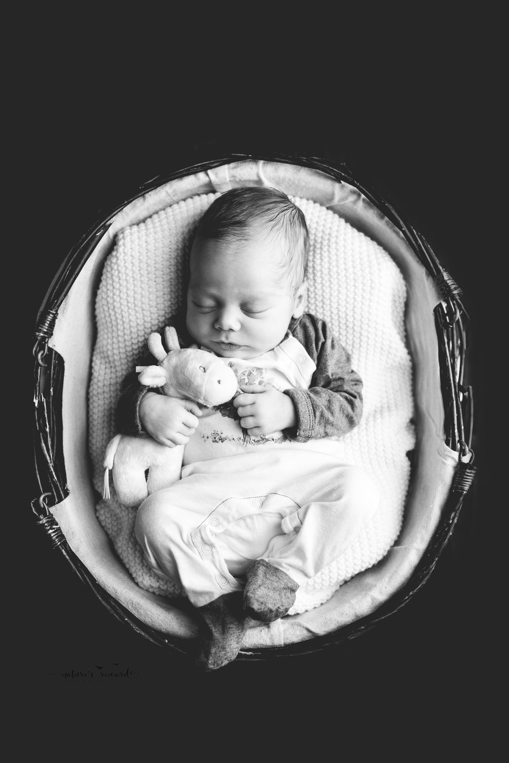 Baby Boy in this black and white fine art edit holding his special giraffe while nestled in a basket by Southern California newborn and family photographer Nature's Reward Photography