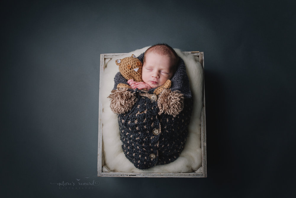 His parents brought in this sweet baby parka which I believe was made by a family member and will have sentimental value! I stuffed my baby bear in there with him in this darling newborn portrait by Nature's Reward Photography