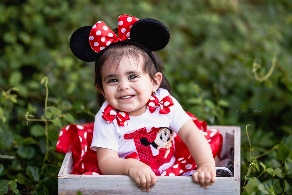 She gives a goofy and super cute grin while happily wearing her Minnie shirt, Tutu and ears in this darling one year milestone portrait by Nature's Reward Photography