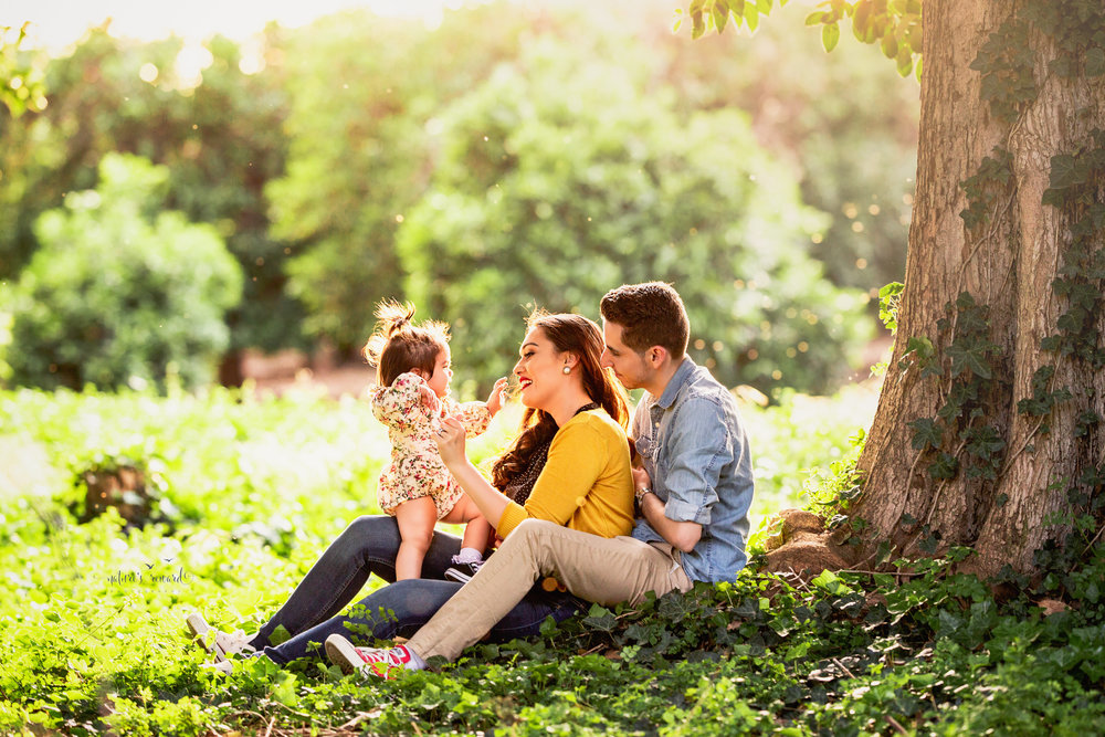 Gorgeous fine art family portrait that is timeless and classic that shows love and interaction under the shade of a beautiful tree.  Portrait by Nature's Reward Photography
