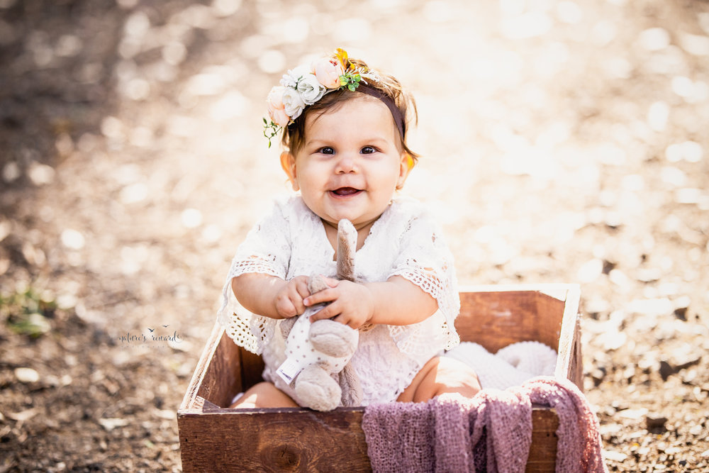 Baby girl sits in a wooden box wearing white lace romper and a flower crown while holding her rabbit in this portrait by Nature's Reward Photography