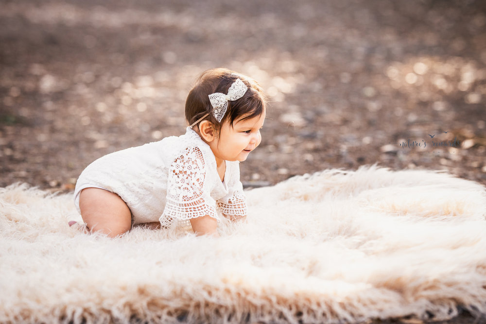 Baby girl crawls while wearing a lace romper and flower crown on a tree lined path in this portrait by Nature's Reward Photography