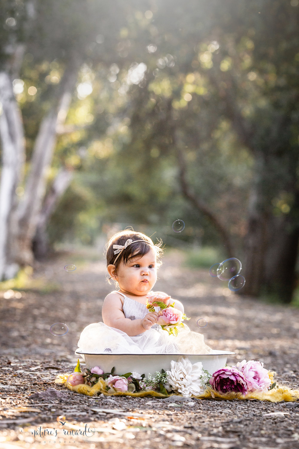 Baby girl sits in a bowl surrounded by flowers on a tree lined path with bubbles in this portrait by Nature's Reward Photography