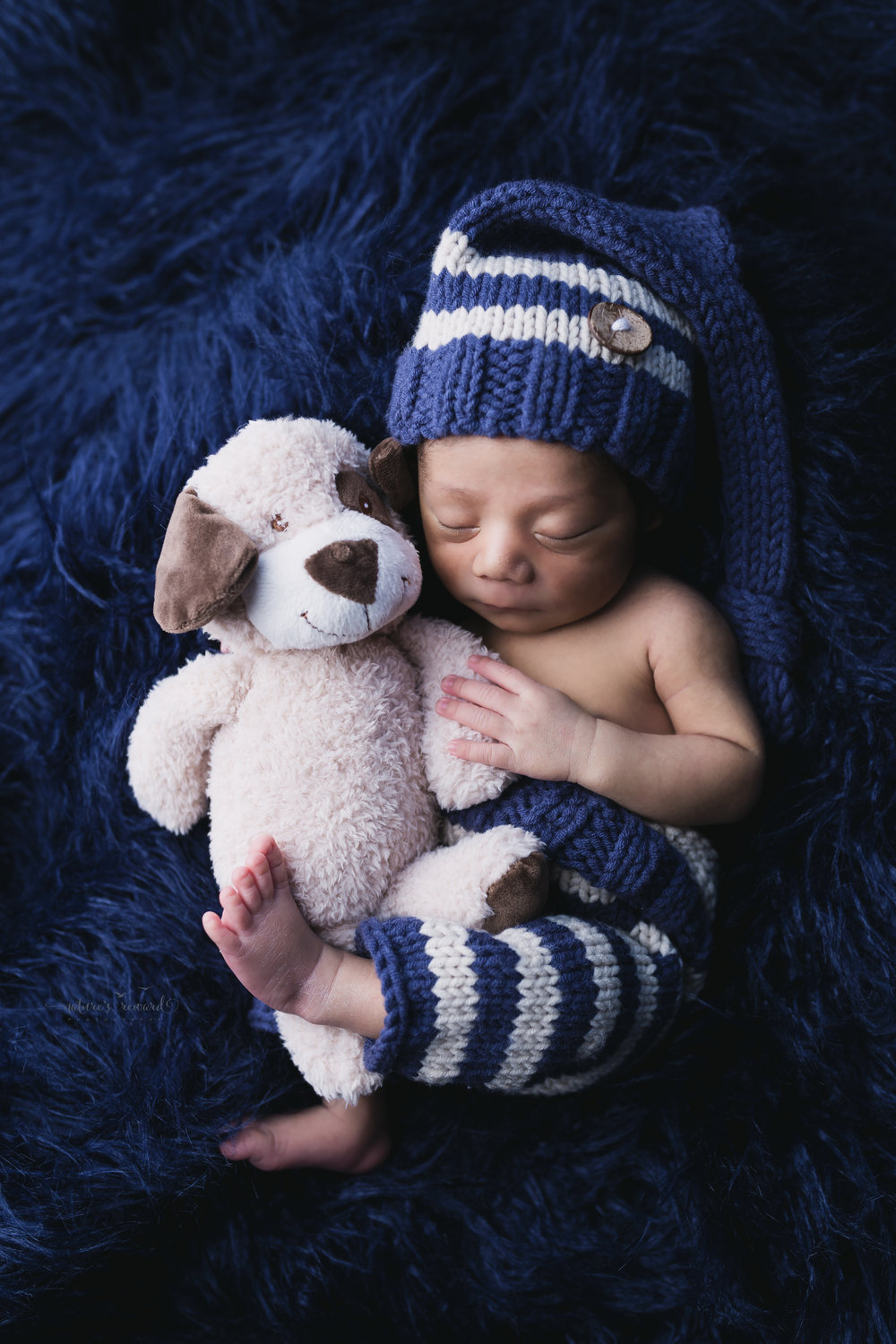 Beautiful baby boy sleeping an a pants and a night cap while holding his puppy on blue faux fur in this Newborn Baby Boy portrait by Nature's Reward Photography