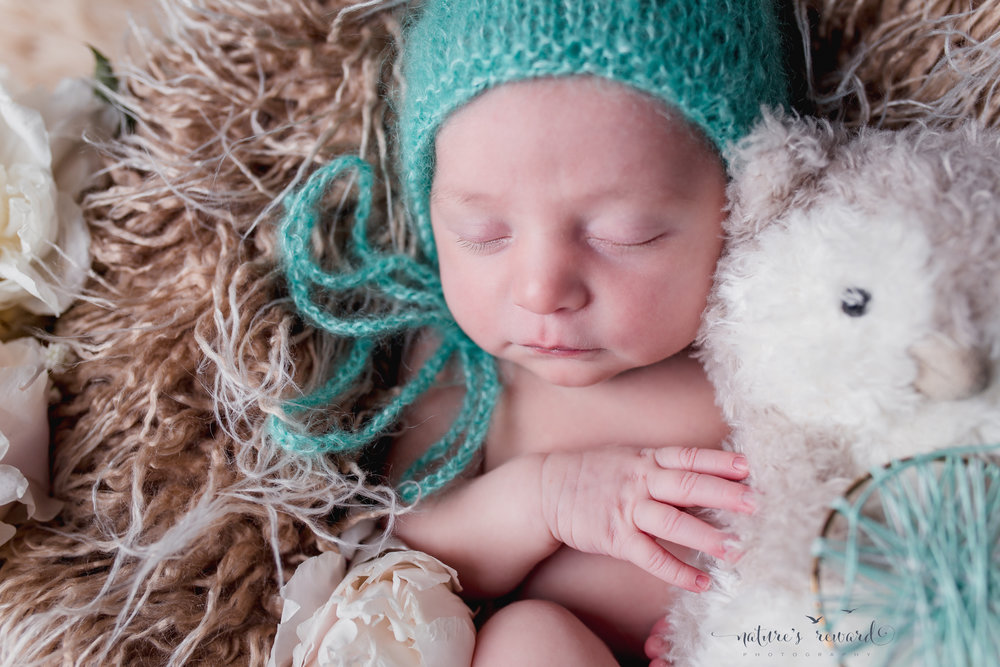 Newborn baby portrait in whites and soft teal, laying on a bed of fur holding her owl. A Portrait By Nature's Reward Photography, a San Bernardino Family, Child, and Newborn Baby Photographer.