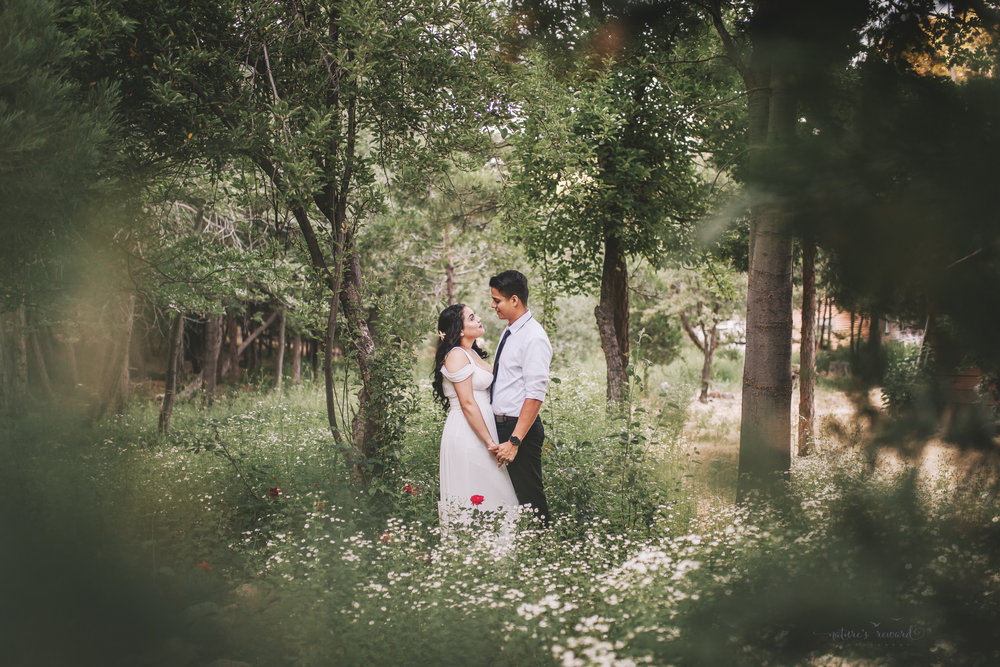 Once in a lifetime shot, invited into the personal proptery by a bystander, this bride and groom stare lovingly into each others eyes in this portrait by Nature's Reward Photography