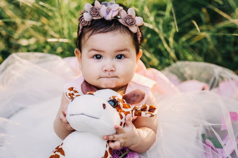 Gorgeous baby Girl in a lovely soft pink and lace gown full of flower petals surrounded by lush greenery, holding her friend the giraffe, in this sitter portrait by Nature's Reward Photography