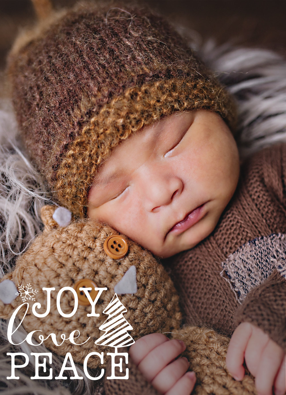 The backside of the card could be a family image- but in this instance a newborn portrait works beautifully as it will be his first Christmas.