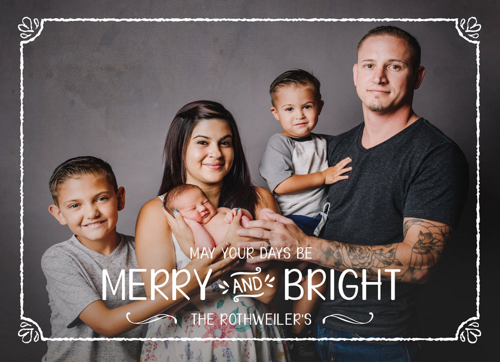 The family portrait is a wonderful portrait for this card as the simplicity allows for the enjoyment of all these merry faces!