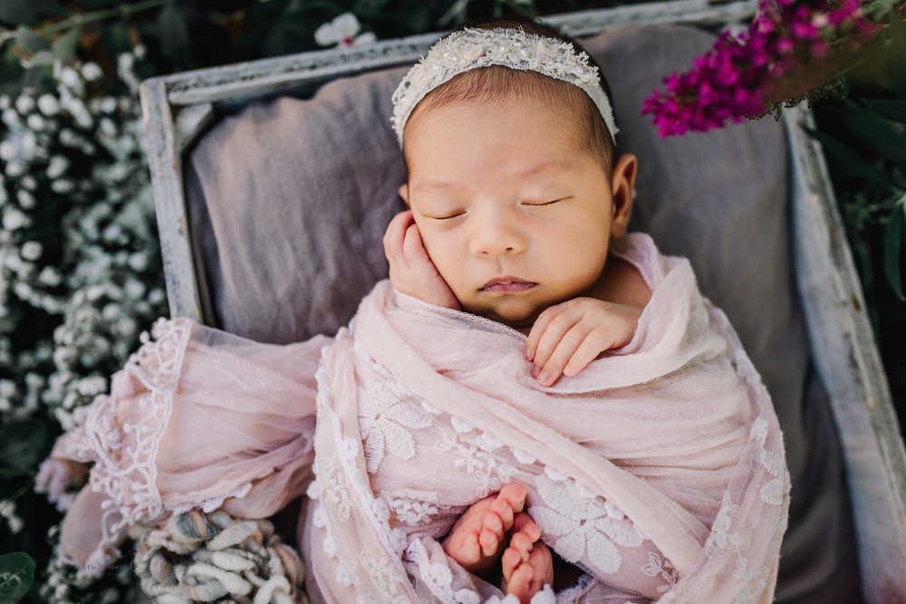 Gorgeous baby newborn girl swaddled in pink wearing a white tie back and in a garden surrounded by lush greens and flowers in this portrait by Nature's Reward Photography
