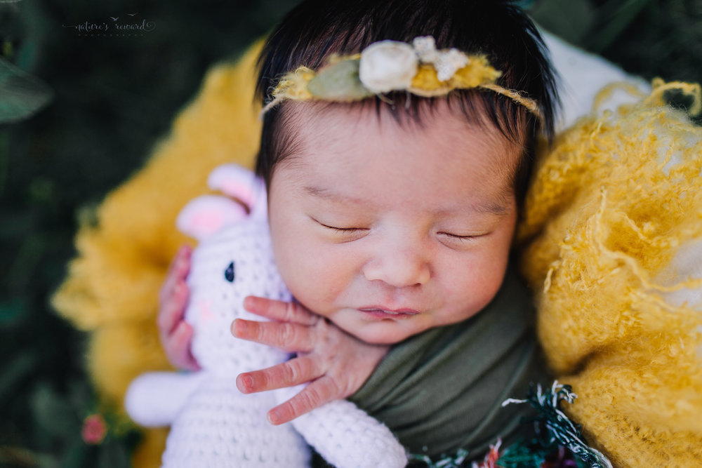 Newborn Baby girl in the garden with pops of yellow in this darling portrait by Nature's Reward Photography