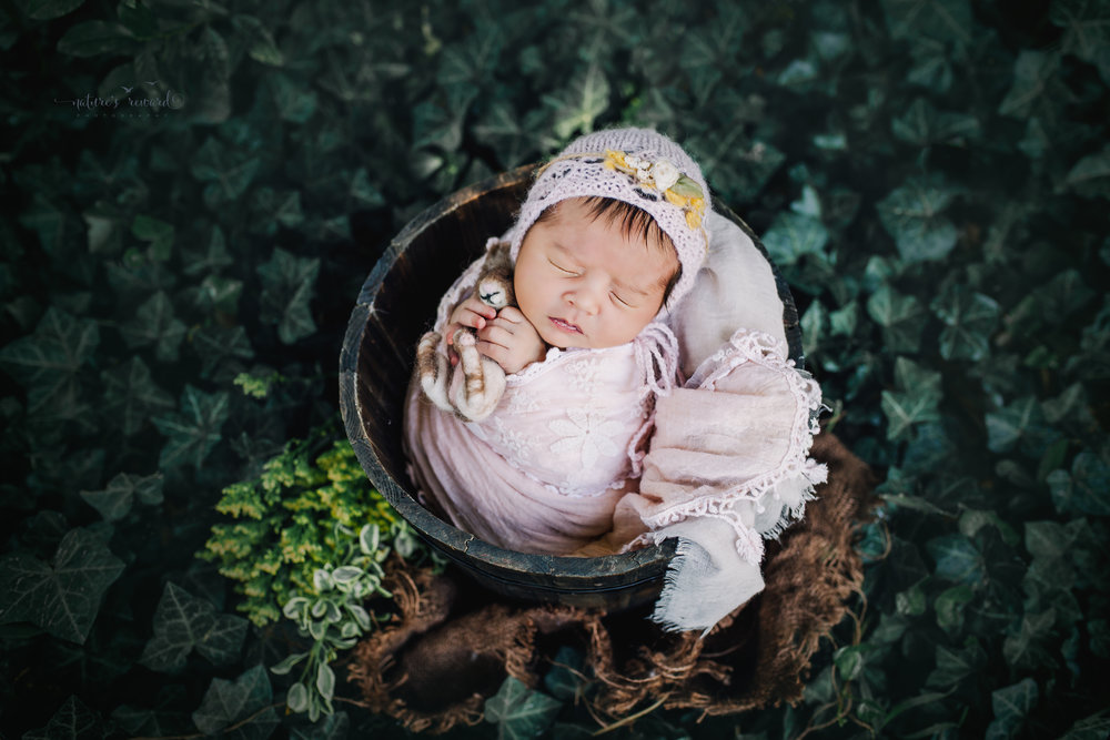 Gorgeous newborn baby girl swaddled in pink wearing a pink bonnet while holding a bunny nested in a bucket in an ivy garden.  A portrait by Nature's Reward Photography