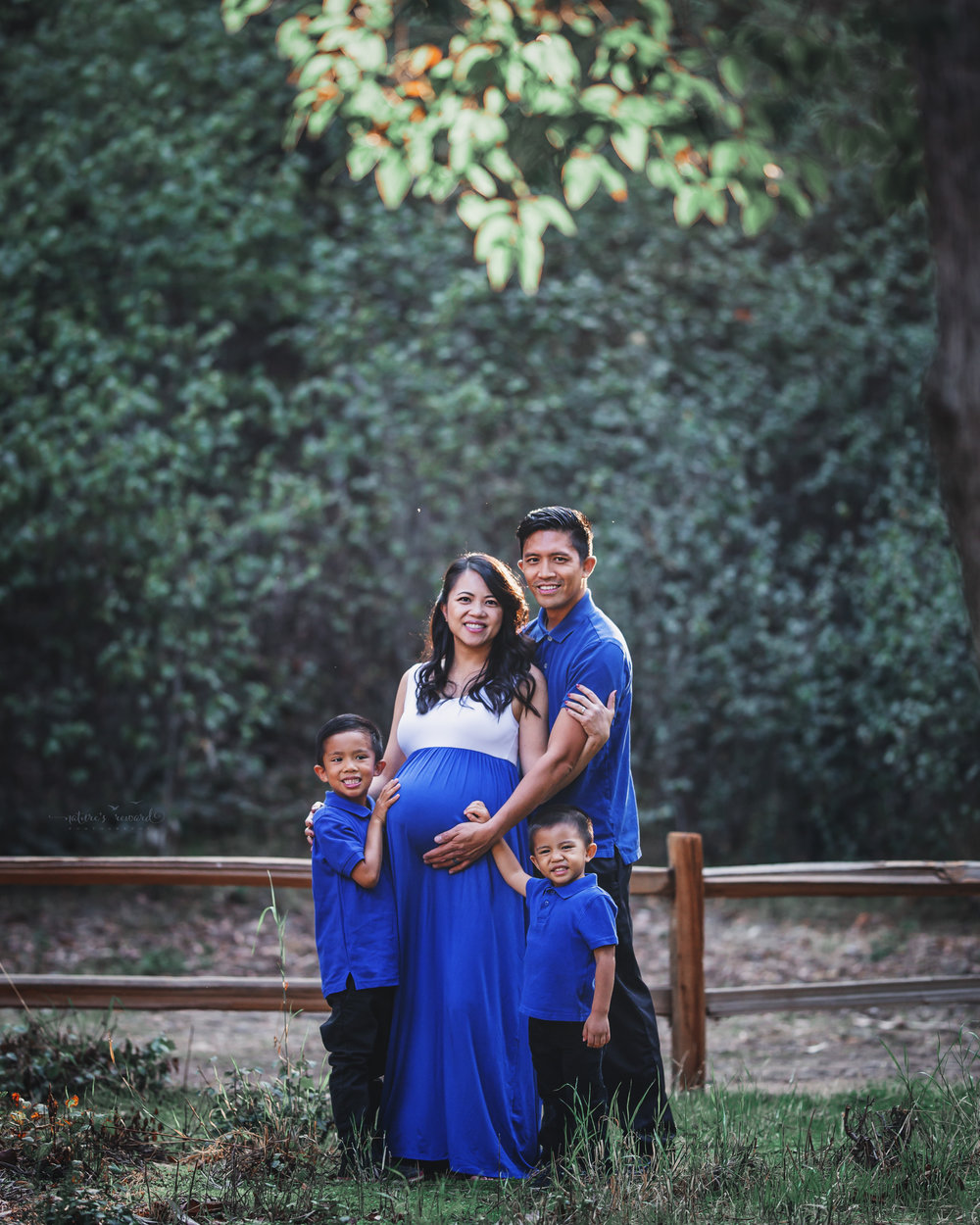 Gorgeous family celebrating the coming of a new baby to complete their family wearing blue to symbolize the gender of the baby in a park setting in this maternity session portrait by Nature's Reward Photography