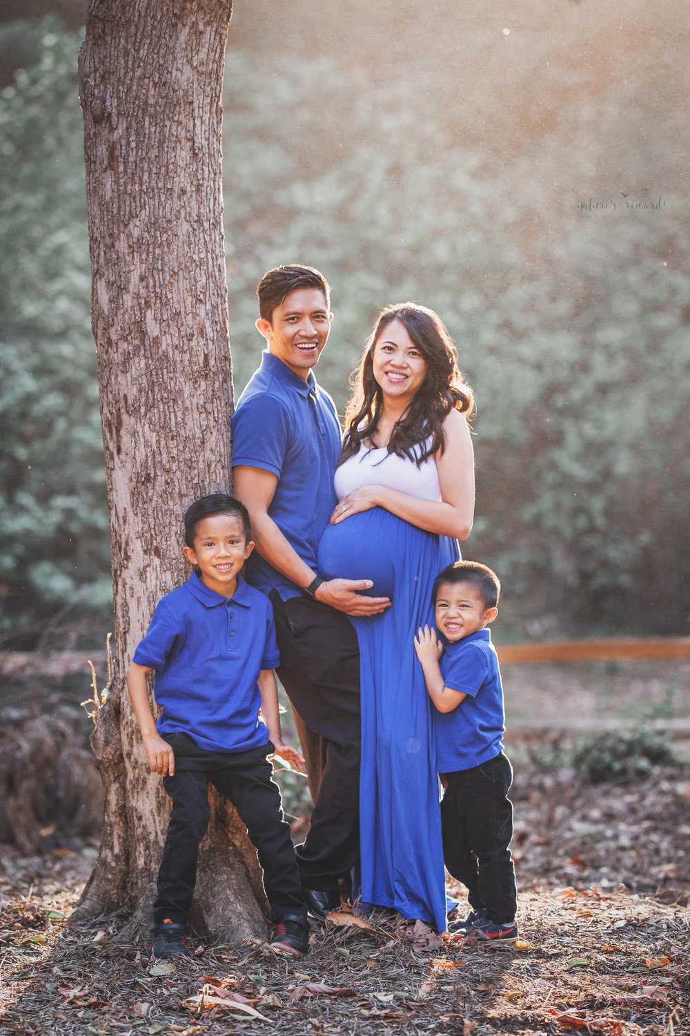 Happy family celebrating the coming of a new baby to complete their family wearing blue to symbolize the gender of the baby in a park setting in this maternity session portrait by Nature's Reward Photography