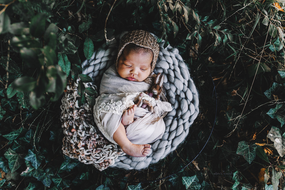 Newborn baby girl in tan lace swaddle and a brown knit bonnets holding a sweet felted rabbit in the garden- a portrait by Nature's Reward Photography