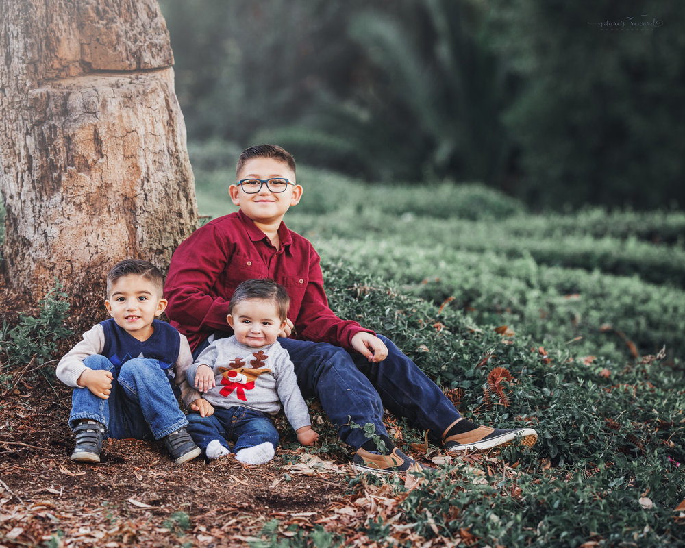 A sibling portrait in a park setting by family photographer Nature's Reward Photography