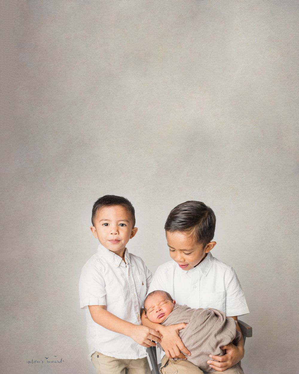 Borther's sibling portrait- a newborn photography portrait by Nature's Reward Photography