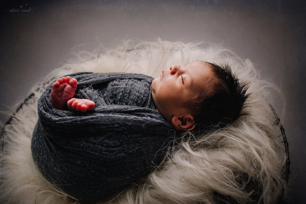 Newborn Baby boy swaddled in grey while laying on a bed of white fur in a metal bowl - a portrait by Nature's Reward Photography