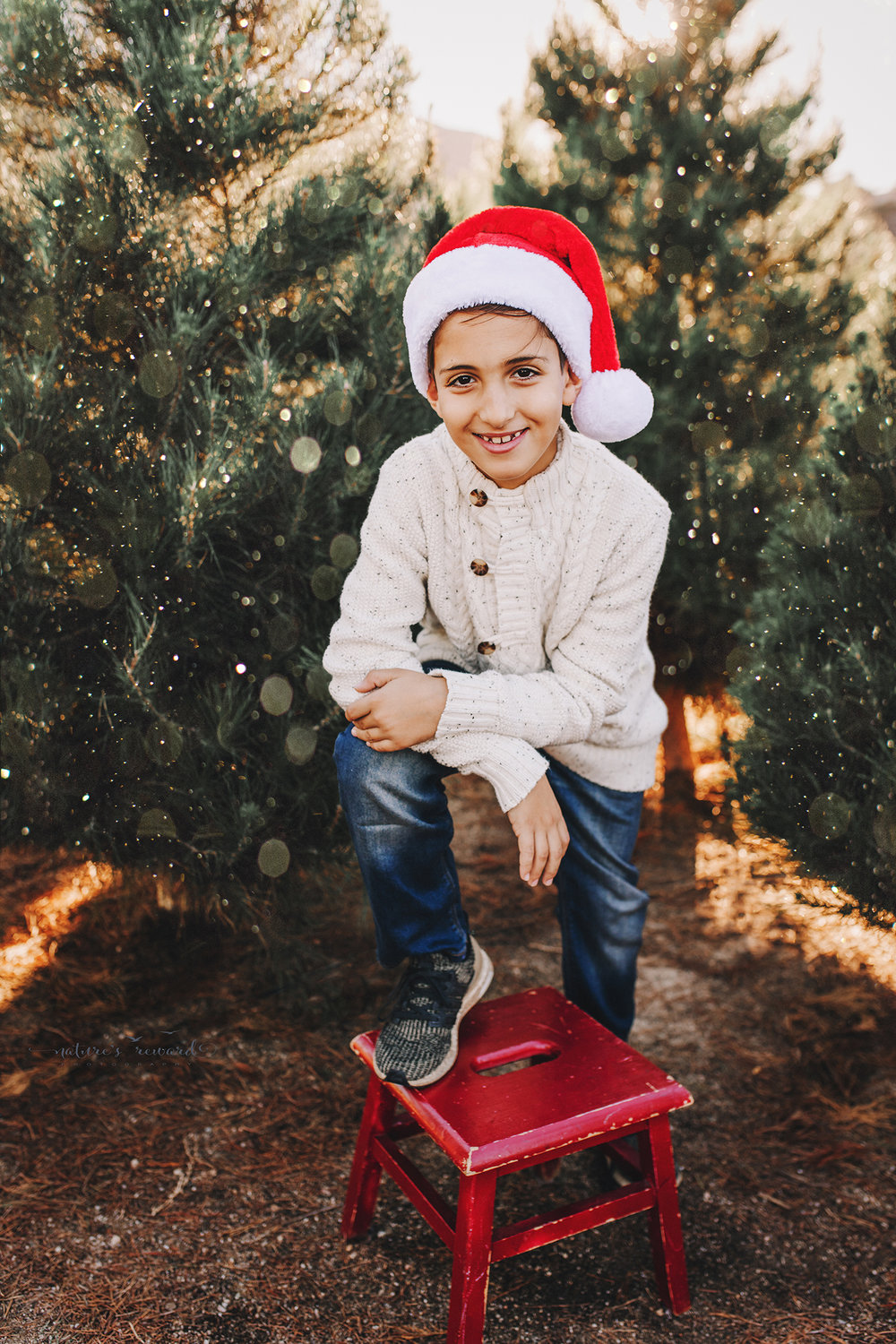 Handsome young man in a Santa hat- A Christmas tree farm portrait by Nature's Reward Photography