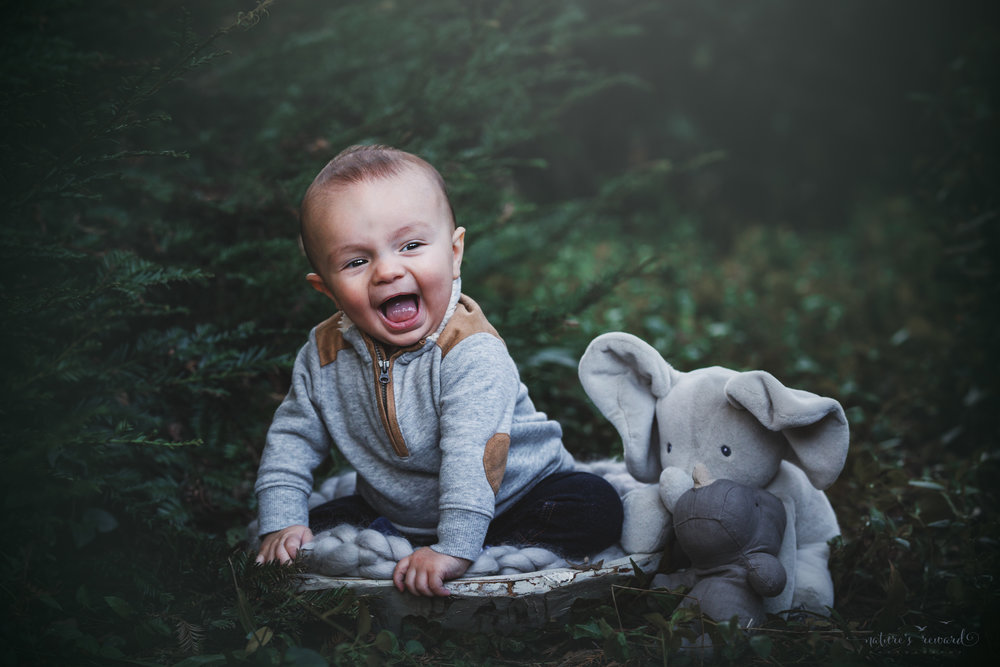 It's all about this smile! 6 Month sitter baby boy in grey with his stuffed elephant and rhinoceros in a lush green park setting in Redlands, Ca. by San Bernardino photographer- Nature's Reward Photography