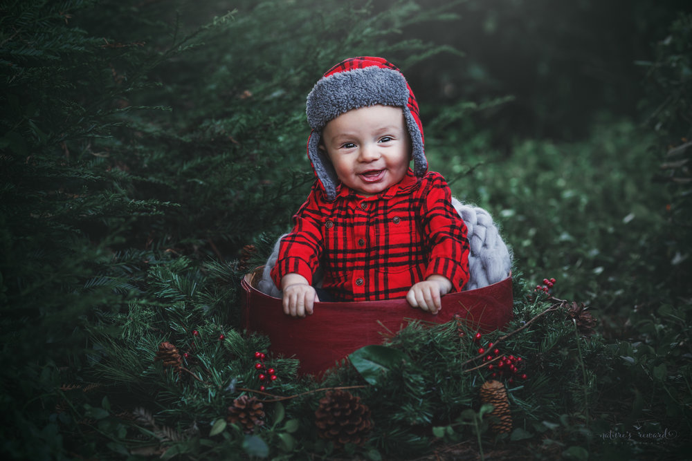 Totally adorable in his flight hat for a Christmas feel!!. 6 Month sitter baby boy in red inside a red circular box with a Christmas holly and pine in a lush green park setting in Redlands, Ca. by San Bernardino photographer- Nature's Reward Photography