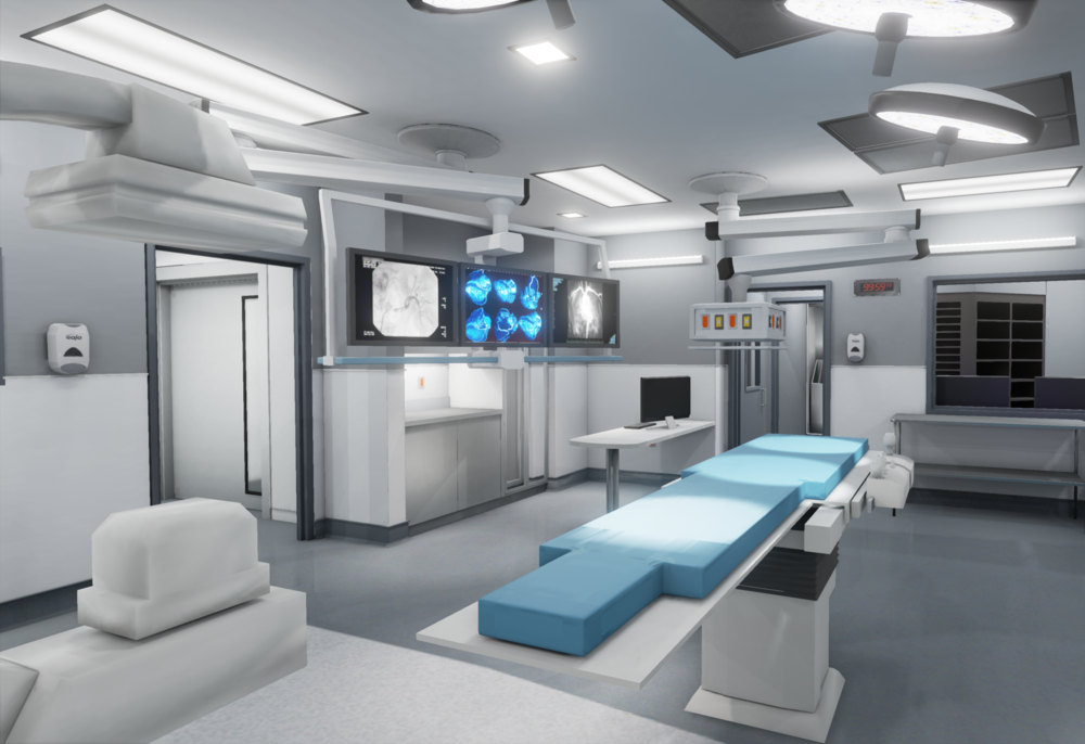 healthcare architecture, render, hybrid operating room, virtual reality, VR