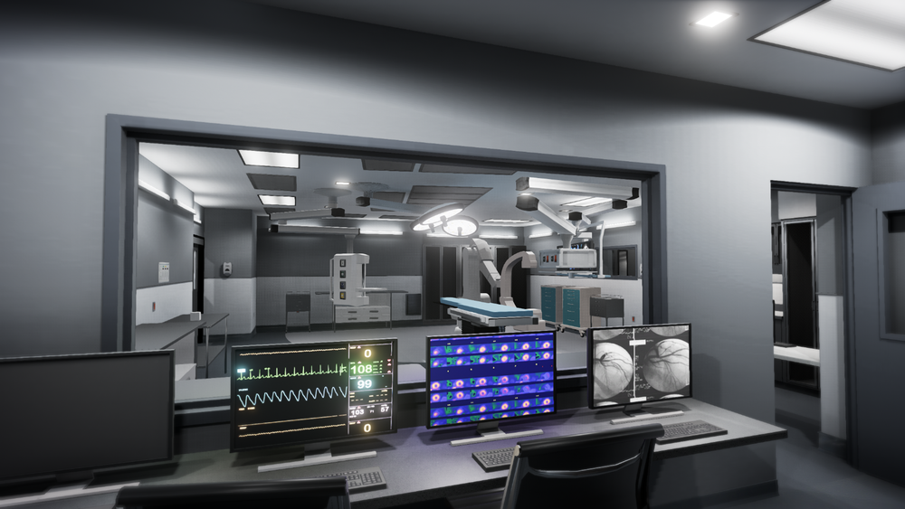 This is an image of a Hybrid Operating Room that we created in virtual reality. Users are able to interact with their environment and use communication and design tools in the virtual space.