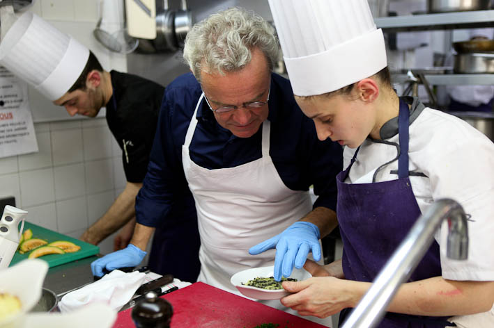 Chef Alain Passard and staff. © Damien Lafargue, The New York Times 2013.
