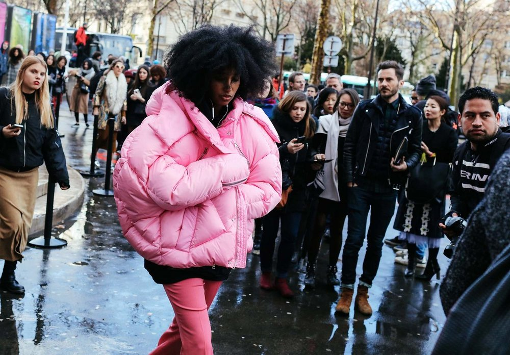 Julia Sarr-Jamois in a Chen Peng puffer,  image by Phil Oh , Paris Fashion Week 2016.