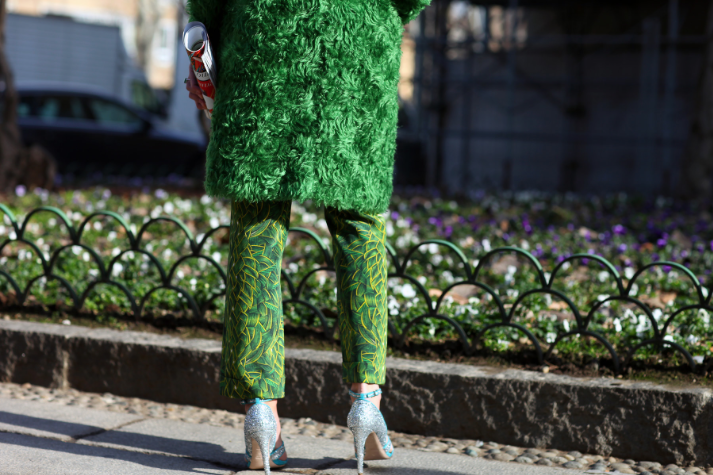 Vogue.com, Milan, Prada coat, Jo No Fui pants, Miu Miu shoes, photographed by Phil Oh.