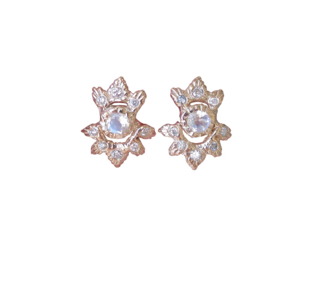 Light Burst Studs, 14k Yellow Gold -Diamonds & Moonstone,  Communion by Joy .