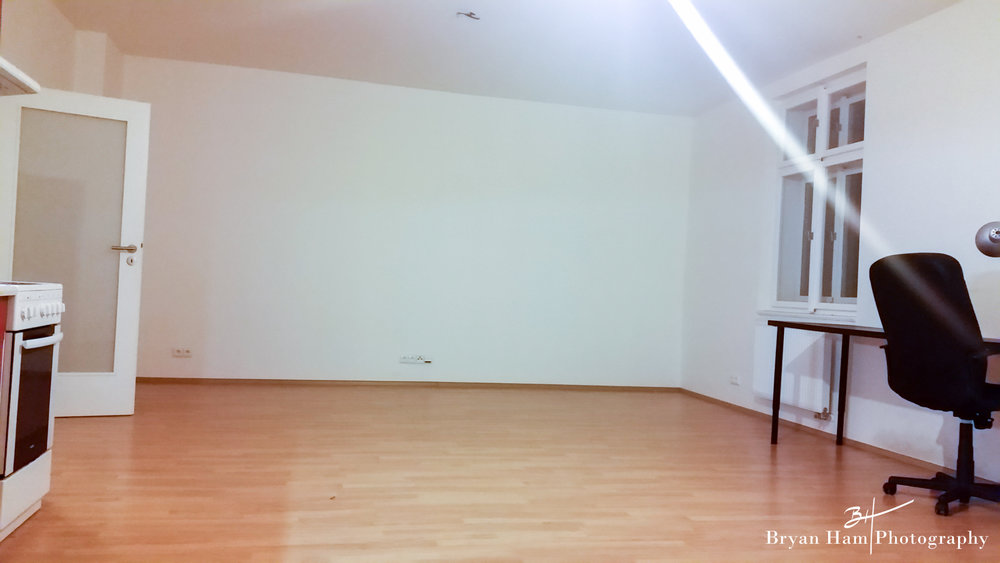 The upgrade and new space. 72m2 and room to run around in.