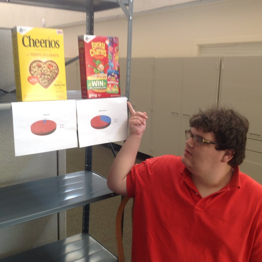 Oak Hill Prep senior Ryan LoBue shows his graphs for sugar-by-weight content of two popular breakfast cereals. He has compiled sugar data for dozens of cereal brands for his summer statistics class.