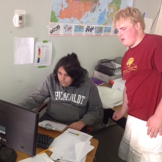 Oak Hill Prepster Gray Lauver '19 coaches Max Duran '19 on how to create a histogram in Microsoft Word.