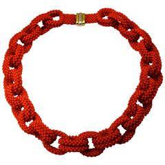 mediterranean coral bead chain necklance.jpg